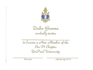 Delta Gamma Bid card gold ink font 2