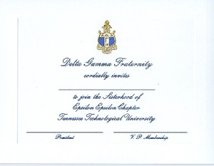 Engraved Flat Card, Delta Gamma, bid card, Font #5