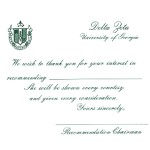 One Color Ink, Emerald Green Thermography, Font #5, Delta Zeta Bid Card