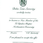 One Color Ink, Emerald Green Thermography, Font #9, Vertical Orientation, Delta Zeta Bid Card