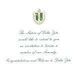 2-color Engraved Flat Card, E.Green Thermography, Font #5, Delta Zeta bid card