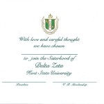 2-color Engraved Flat Card, E.Green Thermography, Font #9, Delta Zeta bid card