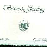 Seasons Greetings Front, Green Foil Insert, Delta Zeta