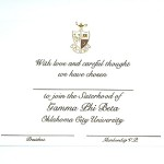 2-color Engraved Flat Card, Brown thermography, Font #9, Gamma Phi Beta bid card