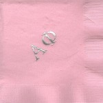 Napkin, Pink, Gold Foil Large Greek Letters, Alpha Phi