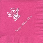 Napkin, Hot Pink, White Foil Flowers, Kappa Alpha Thera, Font PA
