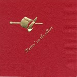 Napkin, Red, Gold Foil Top Hat, Font PA
