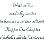 Inside message, font #2, Phi Mu