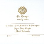 1-Color Ink Flat Card, Gold Thermography, Font #10, Chi Omega bid card