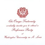 1-Color Ink Flat Card, Red Thermography, Font #5, Chi Omega Preference Invitation