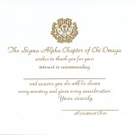 1-color gold raised ink recommendation card, Font #2, Chi Omega