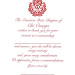 1-Color Ink Flat Card, Red Thermography, Vertical Format, Font #9, Chi Omega Recommendation Thank you