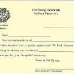 1-Color Ink Flat Card, No Panel, Black Thermography,  Font TR, Chi Omega Recommendation Thank you