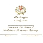 2-color Engraved Flat Card, Gold Thermography, Font #9, Chi Omega bid card