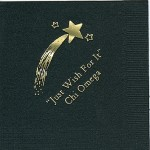 Napkin, Black, Gold Foil shooting Star, Font PA, Chi Omega