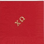 Napkin, Red, Gold Foil Greek Letters, Chi Omega