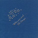 Napkin, Dark Blue, Gold Foil Stars When You Wish, Font PA, Chi Omega