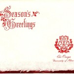 Seasons Greetings, Red Thermography, Red Foil Insert, Chi Omega