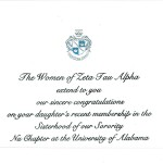 Engraved Flat Card, Parent's Congratulations, Font #9, Black thermographys, Zeta Tau Alpha