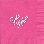 napkin, hot pink, white foil, Zeta Ladies, Zeta Tau Alpha