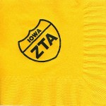 Napkins, Sunflower Yellow, Black Foil, ZTA Interstate Iowa, Zeta Tau Alpha