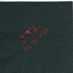 Napkin, Black, Greek ZTA, Red Foil, Font PA, Zeta Tau Alpha