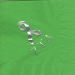 Napkin, Lime Green, Silver Ribbon, Large ZTA, Zeta Tau Alpha