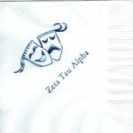 Napkin, White, Black Foil, Greek Drama Masks, Font Garamond, Zeta Tau Alpha