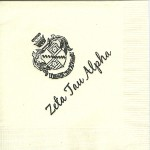 Napkin, Ecru, Brown Ink, Crest and Name, Font Special. Zeta Tau Alpha