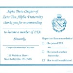 Post Card, White Card Stock, Turquoise Thermography (raised ink) Zeta Tau Alpha , Fonts #15 &