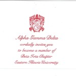 Flat Panel Card, Red Thermography, Font #9, Alpha Gamma Delta