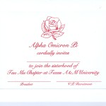 Alpha Omicron Pi bid card, Old Rose design, font #9, red thermography (raised print)