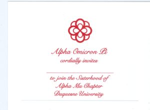 Alpha Omicron Pi bid card, red thermography (raised print), font #9