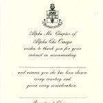 Flat Panel Card, Vertical, Black Thermography (raised print), Font #5 Alpha Chi Omega Recommendation Thank You Card