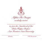 Flat Panel Card, Red  Thermography (raised print), Font #9 Alpha Chi Omega bid card