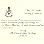 Flat Card, Black  Thermography (raised print), Font #9 Alpha Chi Omega Recommendation Thank You Card