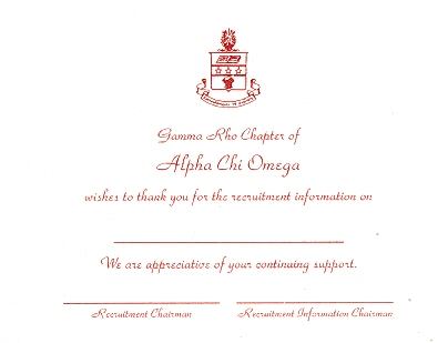 Alpha Stationery – Alpha Chi Omega Thermography Flat Cards