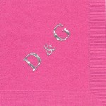 Napkin, Hot Pink, Silver Foil, Extra Large D&G, Delta Gamma