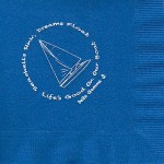 Napkins, Royal Blue, White Foil. Sailboat in Circle, Delta Gamma