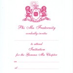 1-color Hot Pink thermography initiation invitation  Font #8 Phi Mu