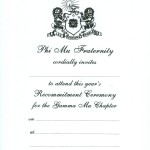 1-color Black thermography recommitment ceremony. Font #8 Phi Mu