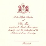 1-color Wine thermography Parent's Card Font #8 Phi Mu