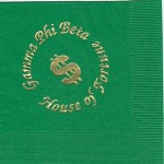 Gamma Phi Beta napkin, color discontinued, Gold Foil