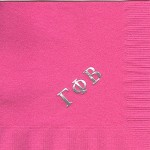 Napkin, Hot Pink, Silver Greek Letters Only, Gamma Phi Beta