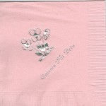 Gamma Phi Beta Napkin, Color Discontinued, Silver Foil Flowers, Font Park Ave,