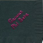 Napkin, Black, Hot Pink Foil, Bubble Lettering, Gamma Phi Beta