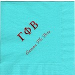 Napkin, Aqua, red foil Greek letters, font PA, Gamma Phi Beta