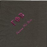 Napkin, Mocha Brown, hot pink foil Greek letters, font PA, Gamma Phi Beta
