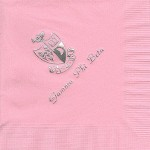 Napkin, Pink, Silver Foil Crest, Font PA, Gamma Phi Beta