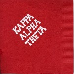 Napkin, Red, White Foil Bubble Lettering, Kappa Alpha Theta
